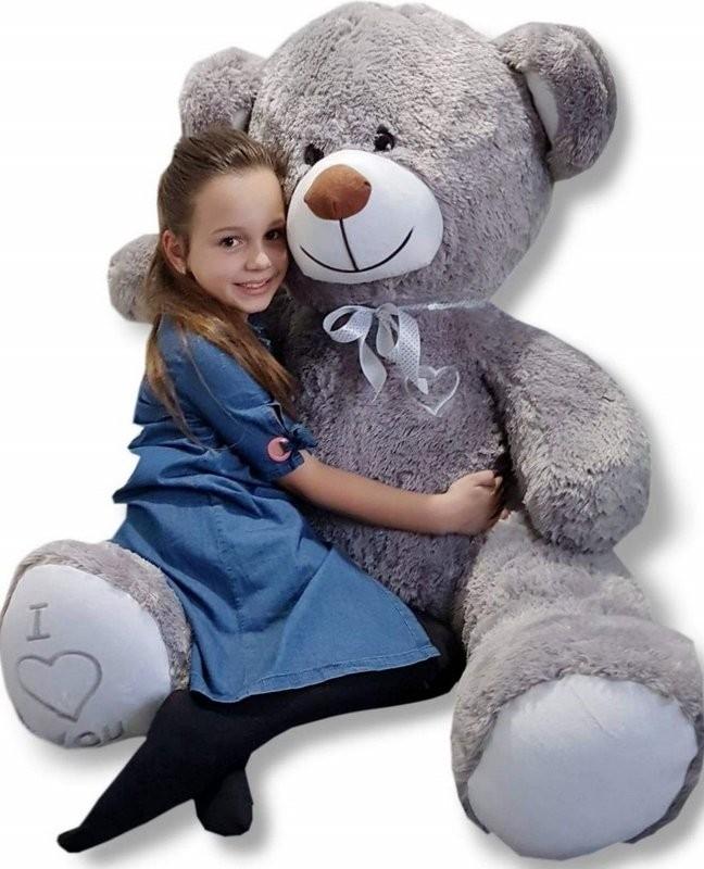 Teddybär Plüschbär Kuscheltier Stofftier Schmusebär Riesen Geschenkidee 160cm grau-weiß