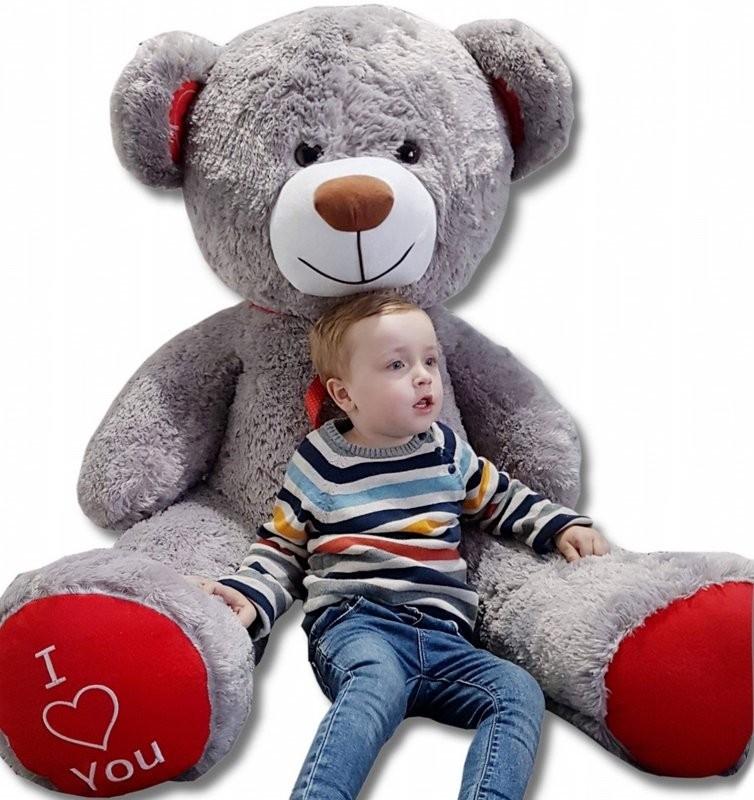 Teddybär Plüschbär Kuscheltier Stofftier Schmusebär Riesen Geschenkidee 160cm grau-rot